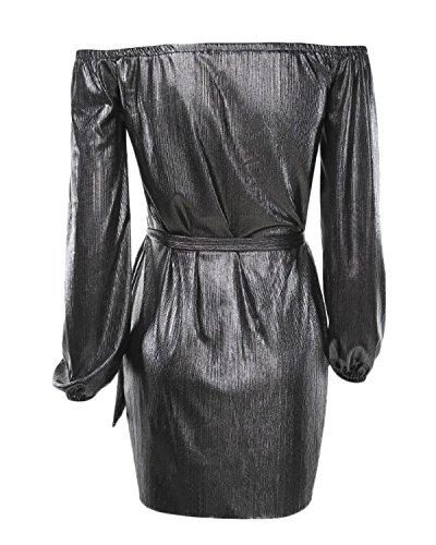 Auxo Femme Sexy épaule Nu Bustier Dress Manches Longues Partie Club Mini Robe de Soirée Noir