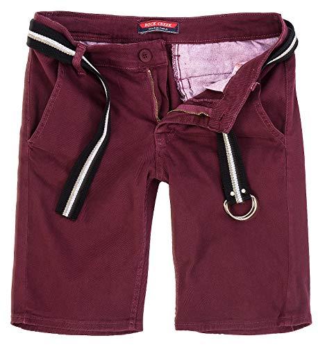 Rock Creek Herren Chino Shorts Hose Kurz Chinoshorts Inkl Gürtel Männer Sommer Bermuda Stretch Rc-2133 34 Weinrot (Chinos Rote Shorts Männer)