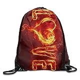 Bixungan Unisex Love of Red Flame Print Drawstring Backpack Rucksack Shoulder Bags Gym Bag Sport Bag