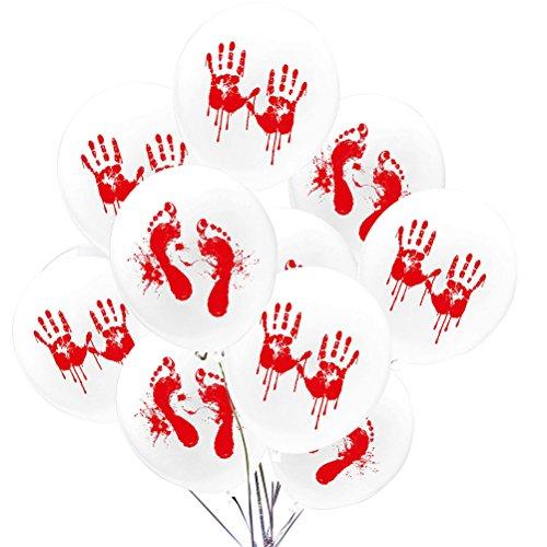 HUPLUE 50Horror Blut Hand Spuren Luftballons Halloween Party Luftballons 30,5cm Party Dekorationen