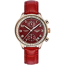 GUANQIN Fashion Formal Brand Women Analogue Waterproof Quartz Stainless Steel and Leather Calendar Chronograph Rhinestone Wrist Watch Simple Design Gold Red
