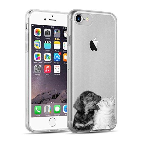 Cover iPhone 8 Cover iPhone 7, JAMMYLIZARD [Sketch] Custodia in Silicone Trasparente Semi Morbido Ultra Slim con Disegno per Apple iPhone 8 e Apple iPhone 7, ALICE SILHOUETTE CANE E GATTO