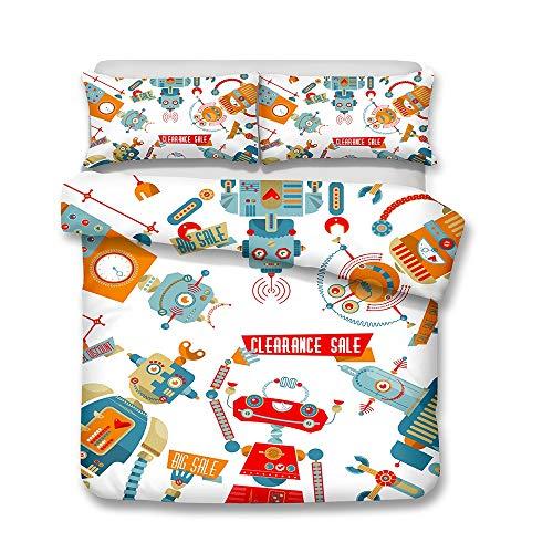 DANGONG BROTHERS Bettbezug 3D Animal Print Effekt Quilt Bettwäsche Set, für Jungen Mädchen Teens Mehrere Designs Cartoon Kinder Bettwäsche Bettbezug Kissenbezug,Picture3,Double -