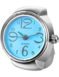 Exclusivo Reloj de Acero elástico Redondo de Cuarzo con Anillo de Dedo para Mujer y niña