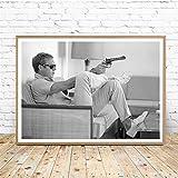 Rjjwai Steve Mcqueen Affiche Toile Vintage Affiches De Cinéma Peinture Mens Gun Noir Blanc Photographie Image Home Wall Art Décor Chambre À Coucher