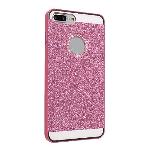 2 x iPhone 8 Plus Coque Paillettes à l'arrière, iPhone 7 Plus Etui Glitter Bling, Moon mood® Plastic Dur Rigide Coque de Protection etui en Plastique PC Back Bumper Slim Case Cover Ultra Mince Solide  Rose