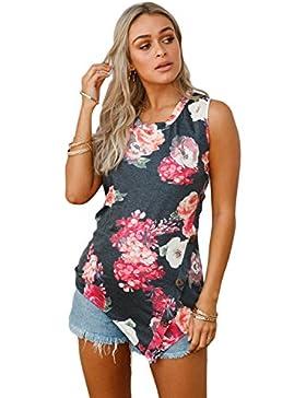 Camiseta de tirantes con detalles asimétricos y flores, color negro, para fiestas, uso informal, talla XL