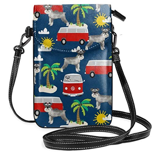 best pillow Schnauzer Beach Palm Tree Summer Cute Dog Design Small Crossbody Bag Lightweight Leather Cell Phone Purse With Credit Card Slot