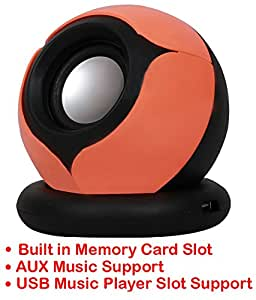 Portable Mini Speaker Supports with Memory Card/USB/AUX Function Compatible For Samsung Galaxy S4 Mini Plus I9195I-ORANGE