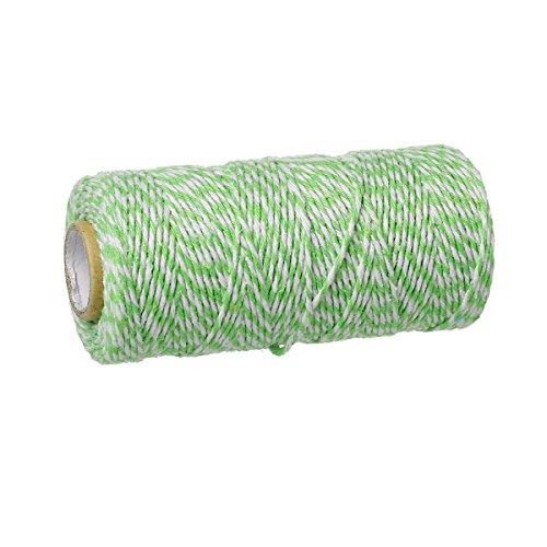 SiAura Material – 92m Schnur aus Baumwolle, 1,5mm dick, hellgrün – weiß gestreift