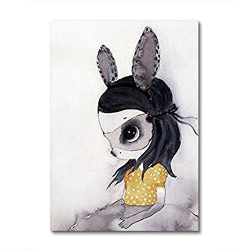 Raybre Art® 20 x 25 cm Kunstdrucke auf Leinwand ohne Rahmen - Ölgemälde Niedliche Cartoon Kinder Tiere Elegante Gemälde Moderne Abstrakte Bilder Wandbild für Wandkunst Hauptdekoration (Kaninchen Mädchen)