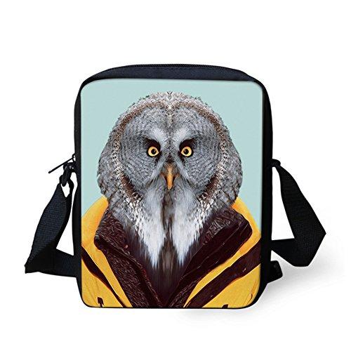 CHAQLIN Borsa Messenger, white dog (bianco) - CHAQLIN cute owl