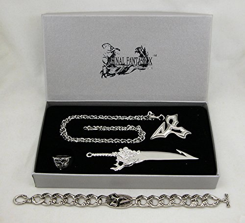Final Fantasy X 5pc Set Halskette Ring Ohrringe Schlüsselanhänger Armband FF10 Cosplay Cloud (Kostüm Lightning Returns Cloud)