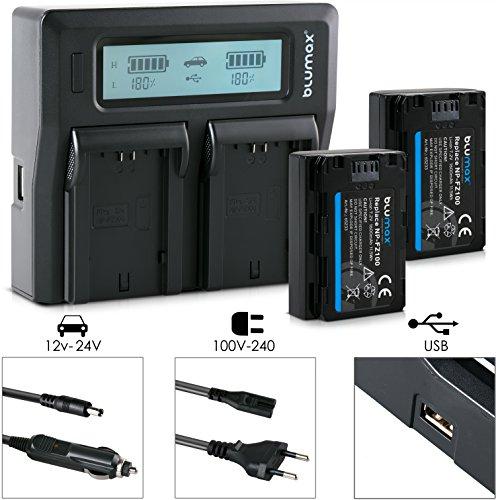 Blumax 2X Akku für Sony NP-FZ100 1600mAh + Doppelladegerät NP-FZ100 Dual Charger | Passend zu Sony Alpha 7 III/Alpha 7R III/Alpha 9 || KFZ 2 Akkus gleichzeitig Laden