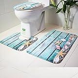 Toilettenmatte Set, Lenfesh Badezimmer Blauer Ozean Stil Sockelwolldecke + Deckel Toilettendecke + Badematte (A)