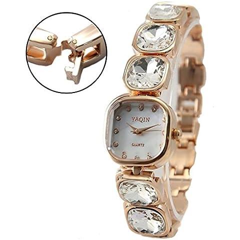 ukfw874a tono oro rosa quadrato Watchcase quadrante bianco orologio da donna