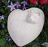 Radami Grabherz 3D Katze Spruch - Wir vermissen Dich so sehr - Grabschmuck Dekoherz Steinguss Herz