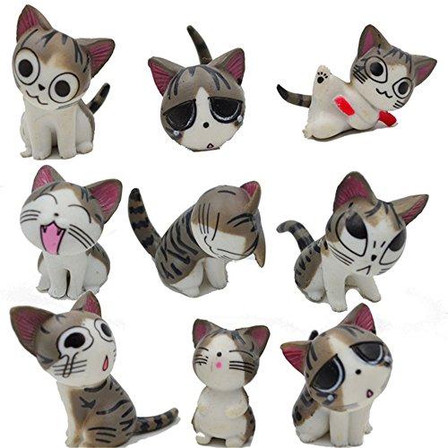 CHI Kimkoala Katzenspielzeug, 9 Stück, japanische süße Katzen, Puppen, Tierfiguren, Sammlungsspielzeug, für Miniatur-Gartendekoration, Grau - Miniatur-katzen