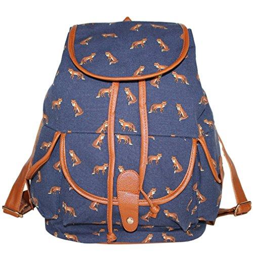 Rucksack Schultasche Mädchen ERWAA Universität Teenager Daypacks Schulrucksack Blau Vintage Damen für Freizeit Studenten Schultasche Outdoor Canvas Außflug Picknick Camping Retro dqttrwE