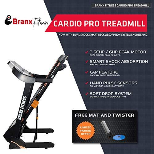 514Hyx4ajfL. SS500  - Branx Fitness Foldable 'Cardio Pro' Touchscreen Console Treadmill - 17.5km/h - 6hp - 0-20 Level Auto Incline - Body Fat Readout - Soft Drop System - Smart Deck Suspension Points
