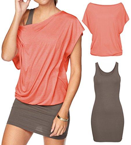 Jusfitsu Damen Ohne Arm Kleid Aus Oversize Shirt 2-in-1(Set 2 tlg) Sommer Minikleid Standkleid Koralle-Taupe XXL