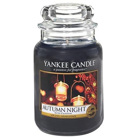 Yankee Candle 1510124E Autumn Night Kerze, Glas, blau, 9,8 x 9,8 x 17,5 cm