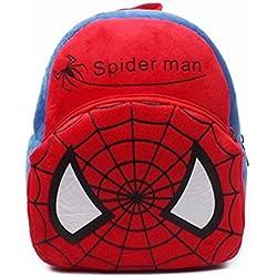 Funny Teddy Cute Lightweight Cartoon Spiderman School Bag- Red