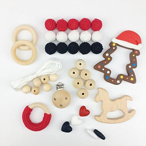 Preisvergleich Produktbild Mamimami Home DIY Zahnen Spielzeug Silikon Weihnachtsbaum Holzpferd Krankenpflege Armband Häkelnde Perlen Schnuller Clips Baby Teether Ring Halskette