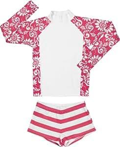 Snapper Rock Girl UPF 50+ UV Sun Protection Two-Piece Set Long Sleeve Swim Shirt & Swim Bottom For Kids & Teens Red/White 11-12 years, 152-158cm