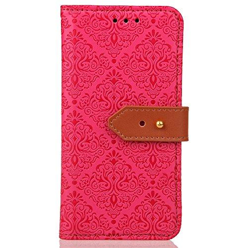 EKINHUI Case Cover European Mural Pattern Luxus Retro PU Leder Geldbörse Tasche Tasche mit Geared Echtleder Niet Gürtelschnalle & Kickstand für IPhone X ( Color : Red ) Red