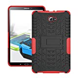 Skytar Samsung Galaxy Tab A6 10.1 Hülle - TPU Silikon + Hart PC Back Cover Case mit Kickstand Schutzhülle für Samsung Galaxy Tab A 10,1 Zoll SM-T580N/SM-T585N 2016 Release Tablet,Rote