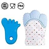 YIHAO Baby Zahnen Fäustlinge Beißring Naturkautschuk BPA-Frei, Lebensmittel Grade Silikon Baby Zahnen Handschuh Spielzeug, Beruhigende Pain Relief Baby Teether für neugeborenen, 2–18 Monaten Infants, Blau