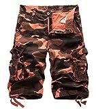 Panegy Camouflage Vintage Cargo Shorts Herren Sommer Outdoor Kurze Hose Bermuda Loose-Fit Arbeitshosen Baumwolle Freizeit Hose Sporthose