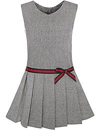 Mädchen Kleid Khaki Schule Uniform Gefaltet Rock Kleiden Gr. 98-146