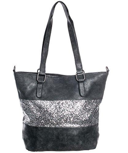 Damen Handtasche Shopper schultertasche umhängetasche streifen Stern Glitzer Cut out Vintage look metallic anthrazit TPUG0387