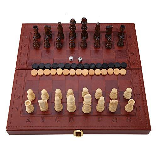 Holz 3-in-1 Faltbar Schach Backgammon Halma Kunstleder Box Tragbar Reise TischplatteSpielzeug für Kinder Erwachsene