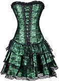 TDOLAH Gothic Korsage Kleid Mini Rock Petticoat Bustier Top mit Tutu-Rock (EUR 34-36/M, 630 grün)