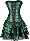 TDOLAH Gothic Korsage Kleid Mini Rock Petticoat Bustier Top mit Tutu-Rock, Grün, EUR 40-42/2XL