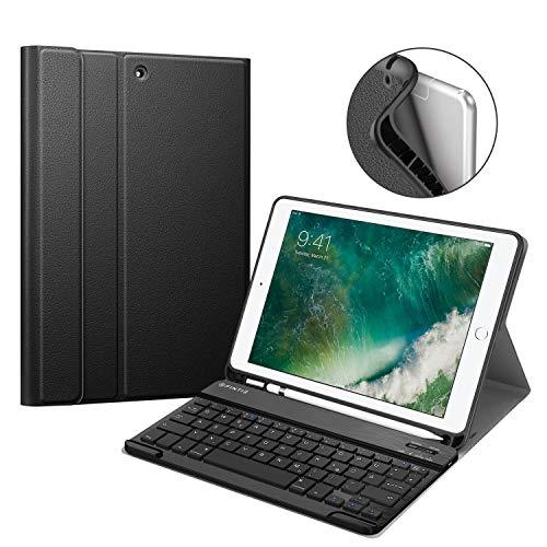 Fintie Tastatur Hülle für iPad 9.7 2018 (6. Generation), Soft TPU Rückseite Gehäuse Keyboard Case mit eingebautem Pencil Halter, magnetisch Abnehmbarer QWERTZ Bluetooth Tastatur, Schwarz