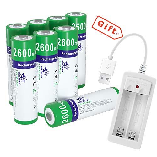 melasta 8 pack NiZn AA Batterie ricaricabili 2600mWh 1.6V AA NiZn Batteria con caricatore per fotocamera digitale Giocattoli MP4 RC Auto Outdoor Luce