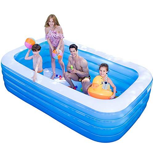 LQqqin Übergroße gepolsterte Wasserpark aufblasbaren Pool, geeignet für Kinder, Erwachsene, Garten, Innen- und Außenbereich,XL:318 * 180 * 68cm