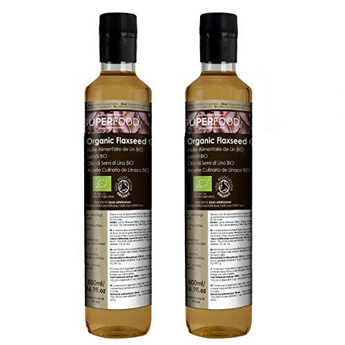Naissance Aceite culinario de Linaza Virgen BIO – 1 Litro (2x500ml) - Convive, certificado ecológico y 100% puro.