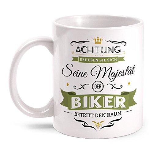 Fashionalarm Tasse Seine Majestät der Biker beidseitig bedruckt mit Spruch   Lustige Geschenk Idee für Motorrad Fahrer Fahrrad Rad Fahrer Hobby, Farbe:weiß