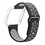 #2: J Small Bracelet Wristband , Soft Silicone Rubber Wrist Band Strap Belt for Fitbit Blaze Sport Watch Black Grey (Small 6.2-7.6)