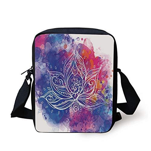 da2060c78c19d WITHY Lotus,Paintbrush Boho Lotus with Brushstroke Effect Ethnic Indian  Hippie Art Decorative,Royal Blue Fuchsia Red Print Kids Crossbody Messenger  ...