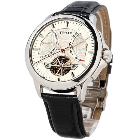 Time100 Vatertag Herrenuhr Automatik Lederarmband Mechanische Armbanduhr Saphirglas Schwarz #W70035G.01A