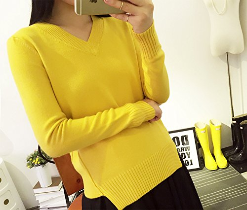 Bigood Sweater Femme Tricot Pull Col V Manches Longues Lâche Casual Jaune