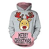 YWLINK Damen Sweatshirt Unisex Strickpullover Rudolph Rentier Pullover Weihnachten Drucken(XXL,Grau)