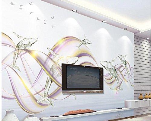 Mznm Fashion Lila Welligkeit Crystal Dolphin Tv Schlafzimmer Wohnzimmer Hintergrund Wand Tapeten für Wände 3D Papel De Parede