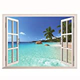 3D Designpanel Wallsticker Selbstklebende Tapete Hawaii Urlaub Meerblick Strand Fenster Ansicht Aufkleber Wandaufkleber
